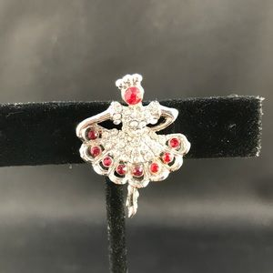 Vintage ballerina pin with red and clear stones